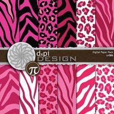 Pink Animal Prints - Digital Scrapbook Paper - pink zebra, pink leopard, pink tiger - Digital Backgrounds for Girls (DP086)