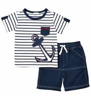 Le Top Baby / Toddler Boys Navy Blue Stripe Anchor Shirt with French Terry Short.-- Le Top Baby / Toddler Boys Navy Blue Stripe Anchor Shirt with French Terry Shorts Gucci Baby Clothes, Baby Boy Clothing Sets, Baby Clothes Patterns, Baby Boy Outfits, Kids Outfits, Baby Summer Dresses, Anchor Shirts, Top Les, Baby Suit