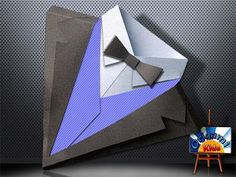 Easy Origami Suit by Jonathan Shackleton Just what dad needs… a new suit! Even better than buying one, Origami Suit that you made yourself the perfect gift to the Father's Day. Origami Paper Folding, 3d Origami, Diy Wedding Gifts, Craft Wedding, Diy Paper, Paper Art, Paper Crafts, Birthday Cards For Men, Diy Birthday