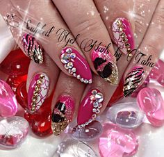Pink bling nails Swarovski