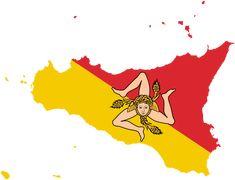 sicily with flag   Description Flag-map of Sicily.svg
