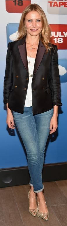 Cameron Diaz: Jacket – The Row Shirt – Rag & Bone Jeans – Frame Necklaces – Coomi and Carbon and Hyde Shoes – Isabel Marant Earrings – Michiko