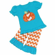Applique Chevron/Polka Dot Pumpkin Turquoise Ruffle Tee/Ruffled Short, Capri, Or Pant Set