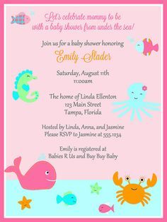 Under the Sea Girls Baby Shower Invitations by TheInviteLadyShop