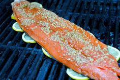 Sweet and smokey grilled salmon - grilled on top of lemon slices