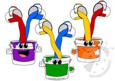 Barattoli di vernice con i colori primari (rosso, giallo, blu) e i colori secondari (verde, viola, arancione). Rosso + Blu = Viola Giallo + Blu = Verde Giallo + Rosso = Arancione Preschool Learning Activities, Preschool At Home, Color Activities, Preschool Classroom, Infant Activities, Classroom Decor, Preschool Activities, School Board Decoration, School Decorations