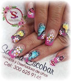 Butterfly Nail Art, Flower Nail Art, Colorful Nail Designs, Nail Art Designs, Gorgeous Nails, Pretty Nails, Spring Nails, Summer Nails, Fingernails Painted