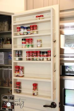 diy pantry door spice rack, cleaning tips, closet, storage ideas, DIY Spice Rack Spice Rack Pantry, Door Spice Rack, Spice Racks, Spice Storage, Storage Rack, Spice Shelf, Storage Shelving, Hidden Storage, Spice Rack Plans