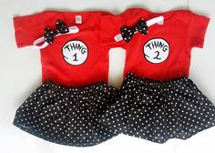 Girl Twin Outfits Thing 1 Thing 2 Onesie  Skirts Headbands