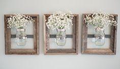 Mason Jar Wall Vase with Rustic Frame by DesignsbyMJL on Etsy