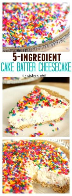 5 Ingredient Cake Batter Cheesecake dessert from Six Sisters' Stuff