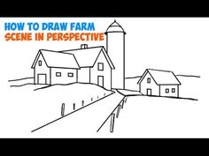 How to Draw Farm Scene / Fall / Spring Scene in Three Point Perspective in Easy Step by Step Tutorial for Beginners - How to Draw Step by Step Drawing Tutorials