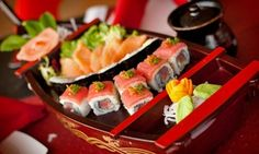 Sushi rolls and other Japanese specialties as well as Asian dishes such as lettuce wraps and chicken teriyaki