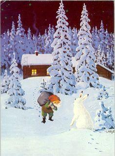 Illustrators only: Lennart Helje Christmas Elf, Vintage Christmas, Christmas Cards, Christmas Illustration, Illustration Art, Winter Images, Fairytale Art, Scandinavian Christmas, Animal Paintings