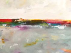 Large Abstract Seascape. This is an original acylic painting on gallery wrapped canvas. The sides are painted to match the front and its ready to hang as it is or be put into a frame. It measures 60 x 36 x 1 1/2 d. This painting is inspired by the San Francisco Bay Area. Thank you for looking.  To see more in this shop: http://www.lindadonohue.etsy.com