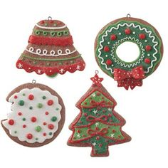 RAZ Frosted Gingerbread Cookie Christmas Ornament Set of 4  - they look like real cookies!