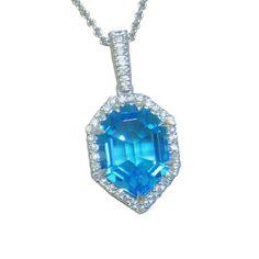 Blue Topaz Pendant https://www.goldinart.com/shop/colored-gemstones-necklaces/blue-topaz-pendant #BlueTopaz, #WhiteGold