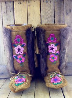 Pink Beaded Flowers on Hand Tanned MooseHide Mukluks with Beaver Fur