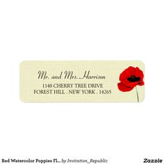 Red Watercolor Poppies Floral Wedding Collection Return Address Label