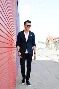 Men's Outfits 2021 | Lookastic Sports Jacket With Jeans, Mens Sports Blazer, Suit Jacket With Jeans, Jean Jacket Outfits, Blazer With Jeans, Blazer Outfits, Men's Outfits, White Blazer Women, Black Leather Biker Jacket