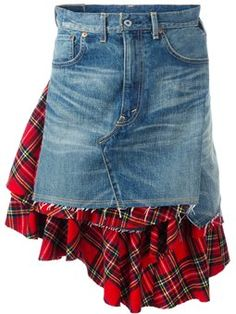 Find out the more suitable techniques to triumph pair of jeans dress clothes for every time of the year. Denim Skirt Outfit Winter, White Denim Skirt, Denim Skirt Outfits, Denim Skirts, Jeans Dress, Mode Tartan, Tartan Plaid, Denim Fashion, Fashion Outfits