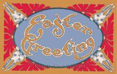 4 Rabbits Easter Greeting ~ Vintage Easter Ephemera ~ Cross Stitch Pattern #StoneyKnobFarmHeirlooms