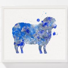 Blue Sheep Painting, Sheep Art Print, from MiaoMiaoDesign on Etsy