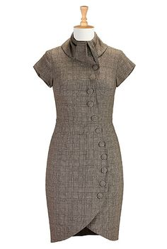I <3 this Curved button front tweed dress from eShakti <-bad dress I need in my life, er wardrobe. yeah, wardrobe. :)