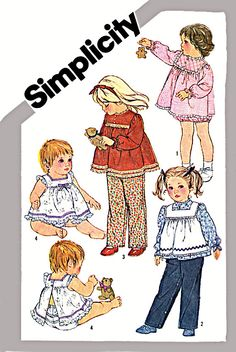 Toddlers Pants Long Sleeved Shirt Pinafore by TheGrannySquared