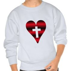 SALE!  Cross and heart #3 ( Cross inside red heart ) Pull Over Sweatshirts.................... #hearts #love #sale #Valentines #gifts #presents #clothing #romantic #romance #mothersday #weddings #jewelry #housewares #designer #crosses #Christians #Catholics