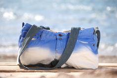 OFFSHORE BAGS  COASTAL Sky blue Denim Shoulder Bag Handmade & Hand Dyed LT Resortwear