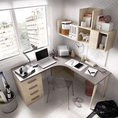 Study areas that allow you to take advantage of the corners of the room and thereby gain space. Room Design Bedroom, Room Ideas Bedroom, Home Room Design, Small Room Bedroom, Home Office Design, Home Office Decor, Home Interior Design, Bedroom Decor, Home Decor