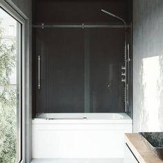 Buy the Vigo Clear / Chrome Direct. Shop for the Vigo Clear / Chrome Elan High x Wide Sliding Frameless Tub Door with Clear Glass and save. Vigo Shower Doors, Bathtub Doors, Frameless Sliding Shower Doors, Sliding Doors, Glass Shower, Shower Tub, Vertical Doors, Vertical Bar, Stainless Steel Tubing