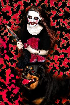 Be Aware Of My Daughter And Dog by Miroslava Jurcik Scary, To My Daughter, Halloween Face Makeup, Superhero, Wall Art, Nice, Dogs, Fictional Characters, Pet Dogs