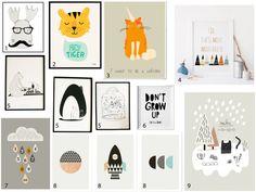 Affiche style scandinave pour chambre enfant animaux fusée minimaliste noire et blanc noir et blanc colorée chat licorne nuage et gouttes de pluie