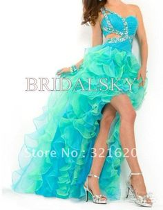 One Shoulder Ruffles crystals Pleated   Column  High Low  Prom Dresses Party Gowns $119.90
