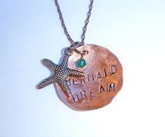 Mermaid Dream Necklace, Hand Stamped Copper Charm Necklace, Nautical Theme Necklace, Mermaid Necklace, Starfish Necklace