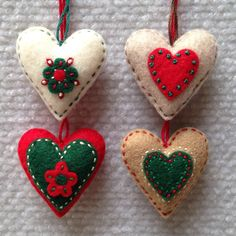 Red green ivory and mocha embroidered felt heart by Lucismiles, $13.00