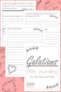 This Galatians Bible Journaling Pack will help you learn to apply scripture to your life, your faith and your family! Small Group Bible Studies, Family Bible Study, Bible Study Tips, Bible Study For Kids, Study Quotes, Scripture Study, Bible Lessons, Free Bible, Bible Journal