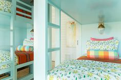 House of Turquoise: Bailey McCarthy of Biscuit Home Bunk Rooms, Bunk Beds, Coastal Homes, Coastal Living, Peppermint Bliss, Biscuit Home, House Of Turquoise, Shared Bedrooms, Kid Spaces