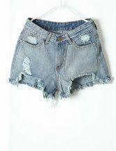 Blue Fringe Ripped Pockets Denim Shorts $23.87 #SheInside