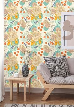 Removable Wallpaper | Peel and Stick Floral Wallpaper | Self Adhesive Botanical Wallpaper | Vintage Hippie Wallpaper, Accent Wallpaper, Botanical Wallpaper, Of Wallpaper, Textured Walls, Order Prints, Wall Murals, Colorful Backgrounds, How To Remove