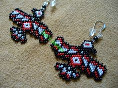 peyote beaded small North Costal Raven earrings by DebsVisions, $18.00