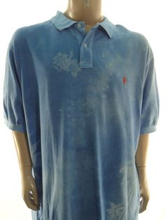 POLO RALPH LAUREN NEW $125 Big & Tall BLUE FLORAL MESH POLO SHIRT 3XLT #PoloRalphLauren #PoloRugby