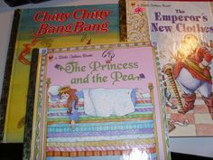 LITTLE GOLDEN BOOKS 3 EMPEROR'S NEW CLOTHES CHITTY CHITTY BANG BANG PRINCESS PEA #DISNEY