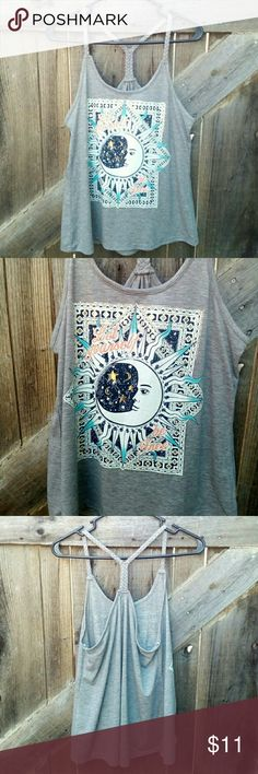 """Braided Strap Tank NWT. """"Let Yourself Be Free"""" braided strap tank Heather grey size L (11/13). 88% polyester 9% rayon 3% spandex. Tops Tank Tops"""