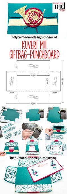 Karte bzw. Kuvert, hergestellt mit dem Giftbag Punchboard von Stampin'Up! Gestaltet von Brigitte Baier-Moser - Mediendesign Moser