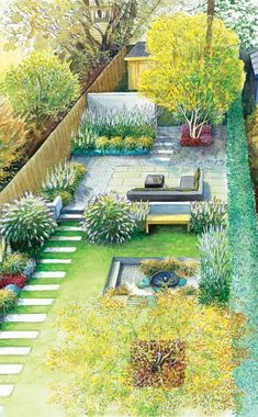 Long, narrow garden with a geometric layout and varied spaces.