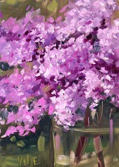 "Daily Paintworks - ""#75 Lovin Lilacs"" - Original Fine Art for Sale - © Patty Voje"