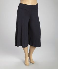 Another great find on #zulily! Navy Solid Cropped Palazzo Pants - Plus #zulilyfinds